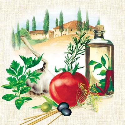 Servietten nach Firmen, Früchte - Oliven,  Gemüse - Chili,  Gemüse - Tomaten,  Regionen - Länder - Italien,  Everyday,  lunchservietten,  Oliven,  Kräuter,  Italien,  Chili