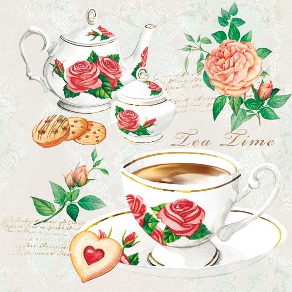 Ambiente,  Getränke Kaffee / Tee,  Everyday,  lunchservietten,  Kaffee,  Tee,  Teekanne,  Kaffeetasse