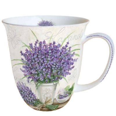 Porzellan-Henkelbecher MUG 0.4 L LAVENDER SCENE CREAM,  Lavendel