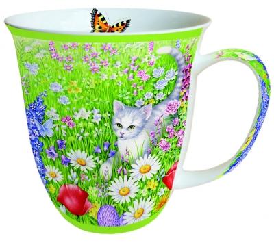 Porzellan-Henkelbecher Summer Meadow,  Tasse,  Blumen,  Katzen