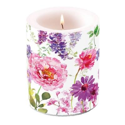 Kerze Pink Roses White,