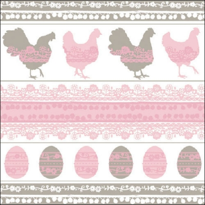 Lunch Servietten Easter Silhouette pink/taupe