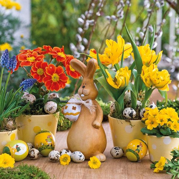 Lunch Servietten Easter Spring, Blumen - Primeln,  Blumen - Hyazinthen,  Ostern - Hasen,  Ostern - Ostereier,  Ostern,  lunchservietten,  Osterhasen,  Ostereier,  Tulpen