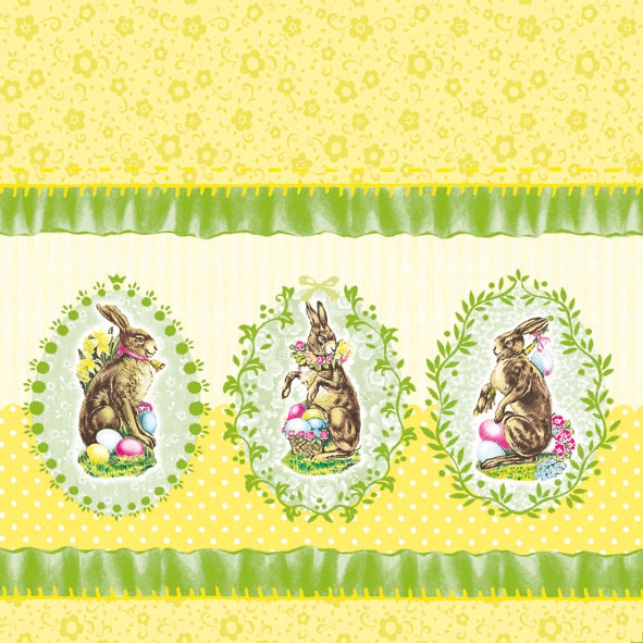 Lunch Servietten Nostalgic Easter Yellow,  Ostern - Hasen,  Ostern,  lunchservietten,  Osterhasen