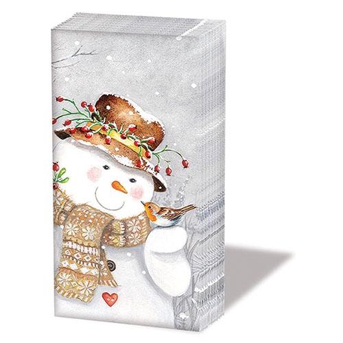 Taschentücher Snowman Holding Robin