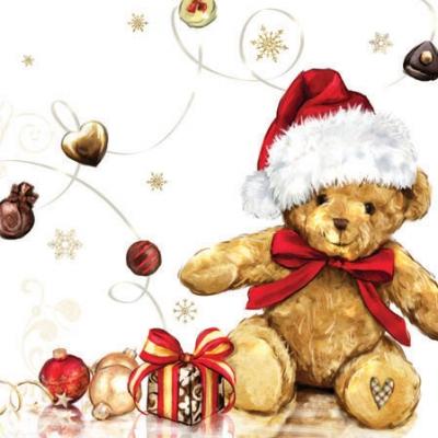 Cocktail Servietten X-MAS TEDDY , Weihnachten - Geschenke,  Spielsachen - Stofftiere,  Weihnachten,  cocktail servietten,  Teddybär,  Geschenke