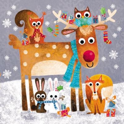 Servietten,  Tiere - Hasen,  Tiere - Reh / Hirsch,  Weihnachten,  cocktail servietten,  Hirsch,  Fuchs,  Hase,  Eulen