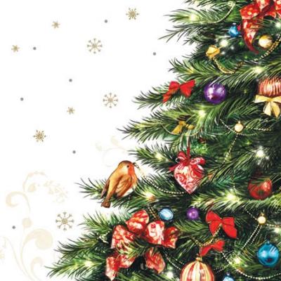 Cocktail Servietten Robin in Tree,  Tiere - Vögel,  Weihnachten - Weihnachtsbaum,  Weihnachten,  cocktail servietten,  Vögel,  Baumschmuck