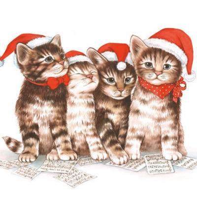 Cocktail Servietten Singing Cats,  Tiere - Katzen,  Weihnachten,  Weihnachten,  cocktail servietten,  Katzen