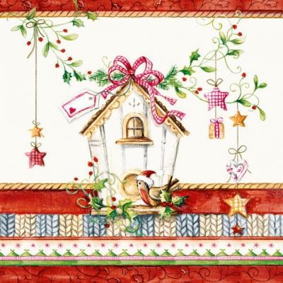 Lunch Servietten BIRDS HOUSE,  Weihnachten - Sterne,  Weihnachten - Baumschmuck,  Weihnachten,  lunchservietten
