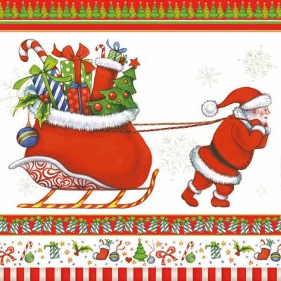 Servietten 33 x 33 cm,  Weihnachten - Geschenke,  Winter - Schlitten,  Weihnachten,  lunchservietten