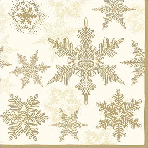 Servietten / Kristalle - Flocken,  Winter - Kristalle / Flocken,  Weihnachten,  lunchservietten,  Schneeflocken,  gold