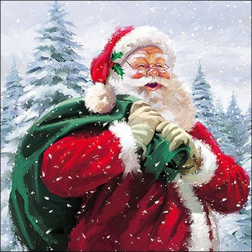 Lunch Servietten HO HO HO! ,  Winter - Schnee,  Weihnachten - Weihnachtsmann,  Weihnachten,  lunchservietten,  Weihnachtsmann,  Schnee