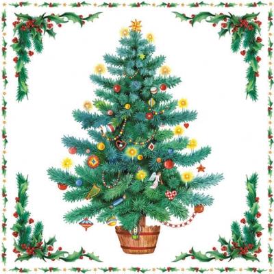 Servietten 25 x 25 cm,  Weihnachten - Weihnachtsbaum,  Weihnachten,  lunchservietten,  Weihnachtsbaum