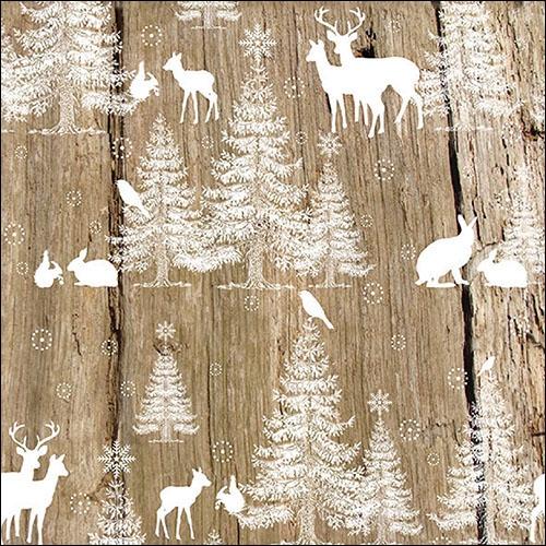 Servietten,  Tiere - Reh / Hirsch,  Tiere - Hasen,  Weihnachten,  lunchservietten,  Schneeflocken,  Hasen,  Hirsch