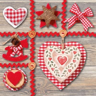 Lunch Servietten VINTAGE CHRISTMAS ,  Weihnachten - Geschenke,  Weihnachten,  lunchservietten,  Herz,  Schleife,  Schaukelpferd