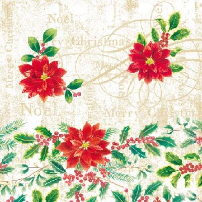 Servietten 33 x 33 cm,  Pflanzen - Ilex,  Weihnachten - Weihnachtsstern,  Weihnachten,  lunchservietten,  Ilex,  Weihnachtsstern