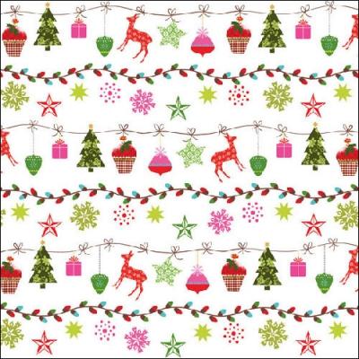 Lunch Servietten X-Mas Garland,  Tiere - Reh / Hirsch,  Winter - Kristalle / Flocken,  Weihnachten - Sterne,  Weihnachten,  lunchservietten,  Sterne,  Hirsch,  Tannenbaum