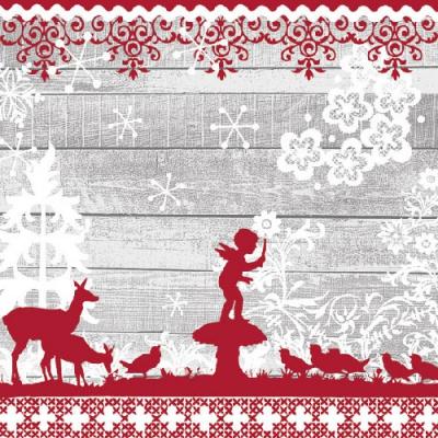 Servietten Tiermotive, Tiere - Vögel,  Sonstiges - Feen,  Tiere - Reh / Hirsch,  Winter - Kristalle / Flocken,  Weihnachten,  lunchservietten,  Reh,  Schneeflocken,  Vögel