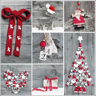 Lunch Servietten Winter Collage,  Weihnachten - Baumschmuck,  Weihnachten - Weihnachtsbaum,  Weihnachten - Weihnachtsmann,  Weihnachten,  lunchservietten,  Hirsch,  Herz,  Schleife,  Geschenke