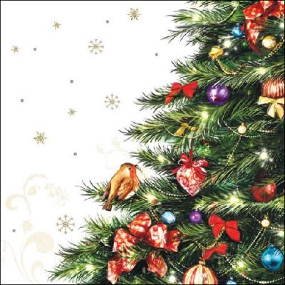 Lunch Servietten Robin In Tree,  Weihnachten - Baumschmuck,  Weihnachten - Weihnachtsbaum,  Weihnachten,  lunchservietten,  Vögel,  Baumschmuck,  Schneeflocken