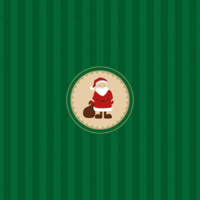 Lunch Servietten Santa Medaillon Green,  Weihnachten - Weihnachtsmann,  Weihnachten,  lunchservietten,  Streifen,  Weihnachtsmann