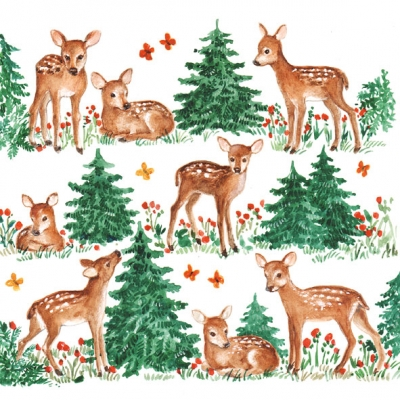 Lunch Servietten Baby Deer,  Regionen - Wald / Wiesen,  Tiere - Reh / Hirsch,  Weihnachten,  lunchservietten,  Reh