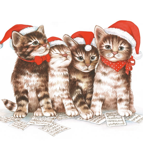 Lunch Servietten Singing Cats