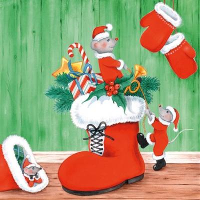 Lunch Servietten X-Mas Mice Green,  Weihnachten,  Weihnachten,  lunchservietten,  Stiefel,  Geschenke,  Maus