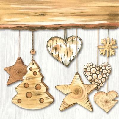 Servietten 33 x 33 cm,  Winter - Kristalle / Flocken,  Weihnachten - Sterne,  Weihnachten,  lunchservietten,  Herzen,  Sterne,  Holz