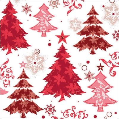 Lunch Servietten Design Trees Red