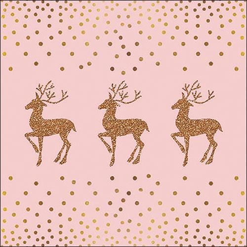 Napkins 33x33 cm - Deer And Dots Rose
