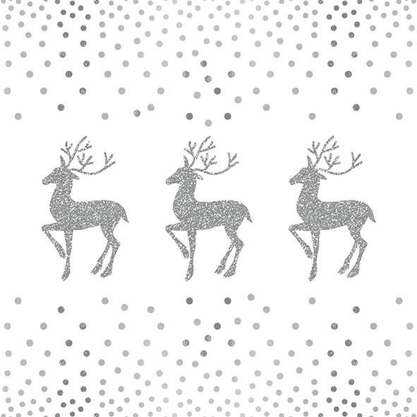 Napkins 33x33 cm - Deer And Dots White