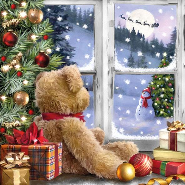 Napkins 33x33 cm - Teddy Looking At Santa