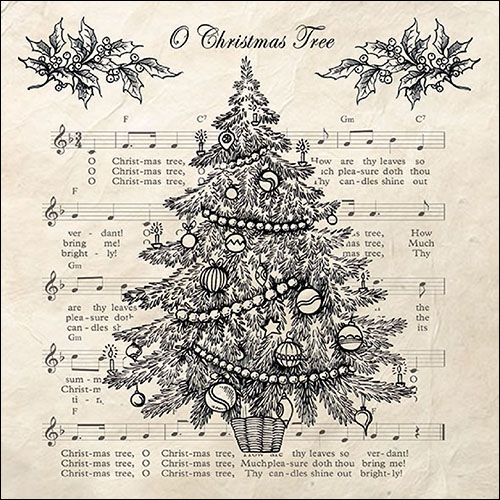 Napkins 33x33 cm - O Christmas Tree Black