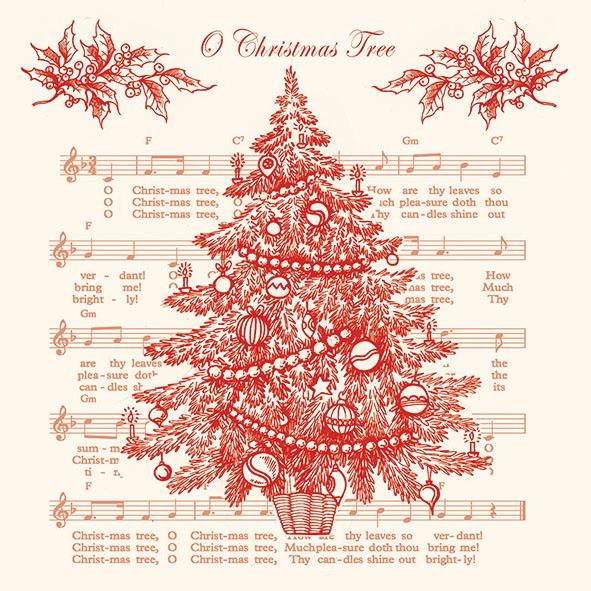 Napkins 33x33 cm - O Christmas Tree Red