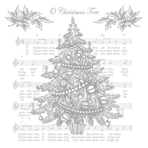 Napkins 33x33 cm - O Christmas Tree Silver