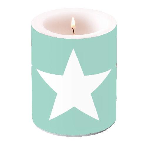 Kerze CANDLE STAR AQUA,  Sterne