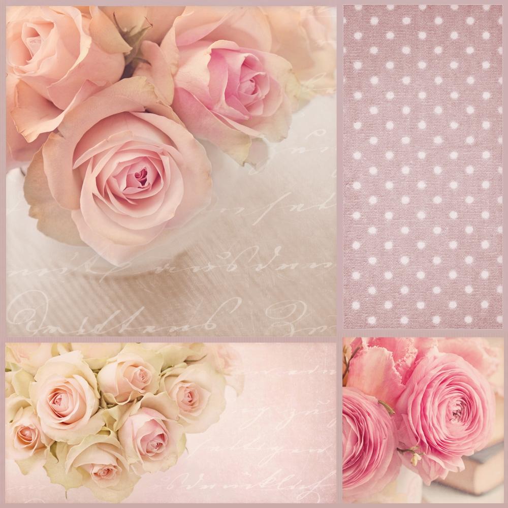 Servietten 33x33 cm - Romantische Rosen