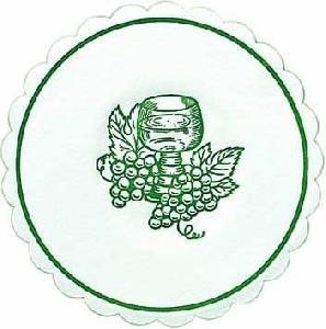 250 Glasdeckchen - 10,5 cm Traube jägergrün,  Rotwein,  Trauben