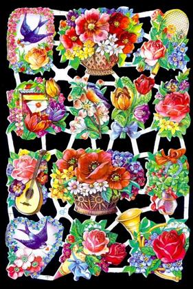 1 Bogen Glanzbilder mit Glimmer ,  Blumen,  Glanzbilder mit Glimmer,  Glanzbilder mit Glimmer,  Vögel,  Blumenkorb