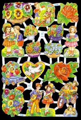 1 Bogen Glanzbilder mit Glimmer ,  Kinder,  Glanzbilder mit Glimmer,  Glanzbilder mit Glimmer,  Blumenstrauß,  Taube,  Blumenkorb
