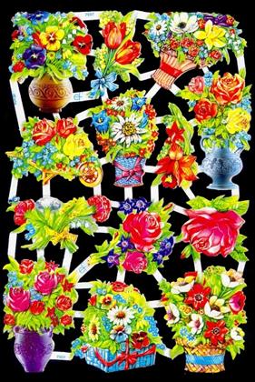 1 Bogen Glanzbilder mit Glimmer ,  Blumen,  Glanzbilder mit Glimmer,  Glanzbilder mit Glimmer,  Blumen in der Vase,  Blumenkorb