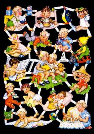 Glanzbilder mit Glimmer Babys,50er Jahre,  Glanzbilder mit Glimmer,  Glanzbilder mit Glimmer,  Ereignisse,  Baby,  Spielende Kinder