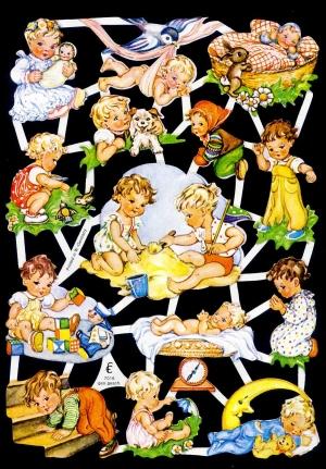 1 Bogen Glanzbilder mit Glimmer ,  Kinder,  Glanzbilder mit Glimmer,  Glanzbilder mit Glimmer,  Baby,  Spielende Kinder,  Vögel, Baby beim Wiegen,  Schlafendes Baby