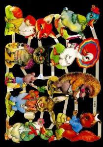 1 Bogen Glanzbilder mit Glimmer ,  Tiere,  Glanzbilder mit Glimmer,  Sonstiges,  Enten,  Fuchs,  Hase,  Igel,  Eichhörnchen