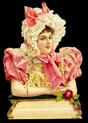 1 Bogen Glanzbilder mit Glimmer ,  Blumen,  Glanzbilder mit Glimmer,  Sonstiges,  Frau mit Kleid und Hut