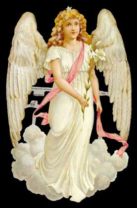 Glanzbilder mit Glimmer Weißer Engel,  Engel,  Glanzbilder mit Glimmer,  Glanzbilder mit Glimmer,  1 Engel mit einer Lilie