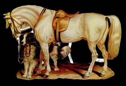 1 Bogen Glanzbilder mit Glimmer ,  Glanzbilder mit Glimmer,  Glanzbilder mit Glimmer,  Tiere,  Pferd mit Hund