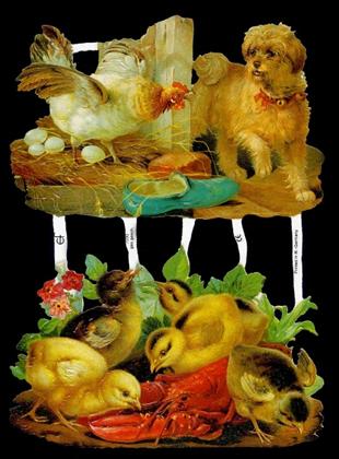 1 Bogen Glanzbilder mit Glimmer ,  Sonstiges,  Glanzbilder mit Glimmer,  Tiere,  Huhn mit Eiern,  Hund,  Kücken,  Hummer